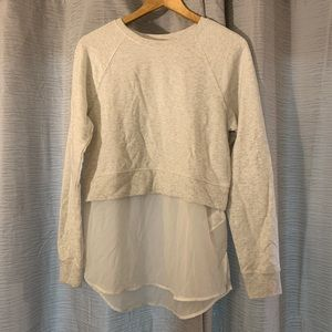 H&M Gray Cropped Sweatshirt Sheer Under Layer